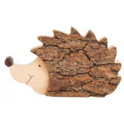 Hedgehog in bark wood