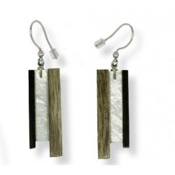 Earrings in wood natural handmade
