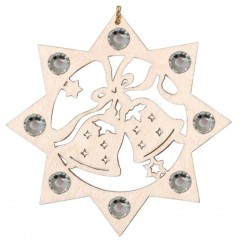 Two Bells with Swarovski Crystal - Dolfi Wooden Star Ornaments - Made in Italy