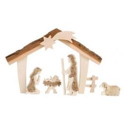 Heilige Familie mit Stall 12,5cm