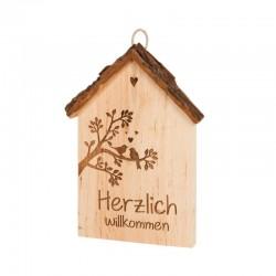 Herzlich Willkommen aus Holz 18 cm