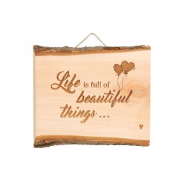"Schild mit ""Life is full of beatiful things…"""