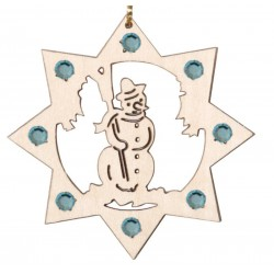 the Snowman with Swarovski Crystal - Dolfi wood Circle Ornaments - Made in Italy