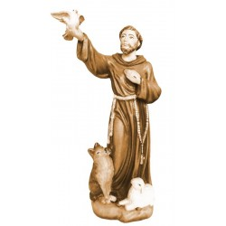 Saint Francis from Assisi with flying dove in his hand - Wood colored in Different brown shades