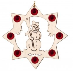 the Snowman with Swarovski Crystal - Dolfi personalized Wooden Ornaments - Made in Italy