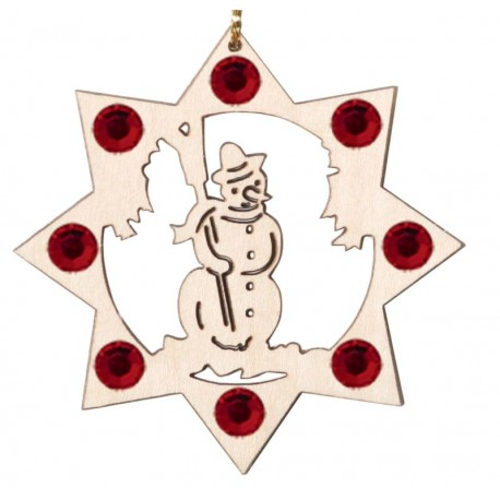 Addobbo natalizio pupazzo di neve con cristalli Swarovski