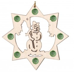 the Snowman with Swarovski Crystal - Dolfi Wooden Ornaments - Made in Italy