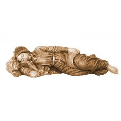 Sleeping Saint Joseph wood carved statue - stained 3 col.