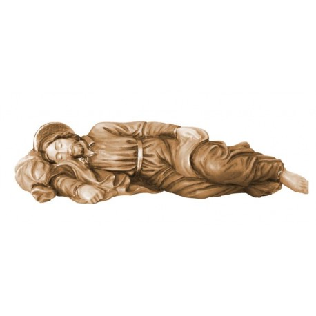 Saint sleeping Joseph with aureole on his head wood carved in Val Gardena Italy - Wood colored in Different brown shades