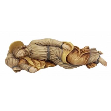 San Giuseppe dormiente - legno colorato in diverse tonalitá di marrone