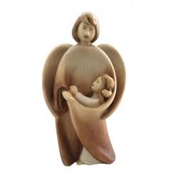 Schutzengel mit Mädchen; Dolfi Engel Figuren Holz Ohne Gesicht, Original Grödner Holzschnitzereien - Brauntöne lasiert