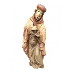 Re Magio Bianco elegantemente scolpito in legno - legno colorato in diverse tonalitá di marrone