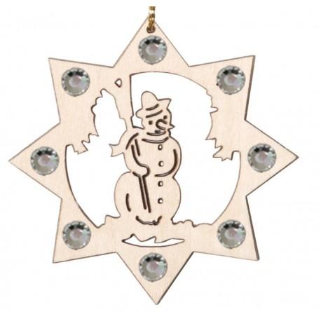 Der Holz Schneemann u. Swarovski Kristallen