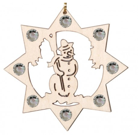 The wooden snowman and Swarovski crystals