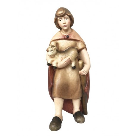 Shepherd with goat kid in wood - color