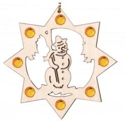 the Snowman with Swarovski Crystal - Dolfi wood Burning Christmas Ornaments - Made in Italy