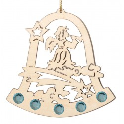 Laser-Cut Wooden Christmas Ornament with Swarovski Crystal - Dolfi wood Ornaments - Made in Italy
