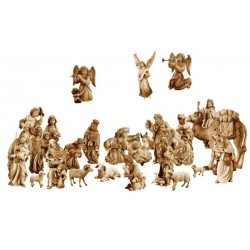 Nativity 27 Pieces in wood without Stable - stained 3 col.