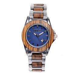 Wood Watch for Woman in Olive wood and Steel - with Blue Dial - Dolfi Men'S wood Grain Watches