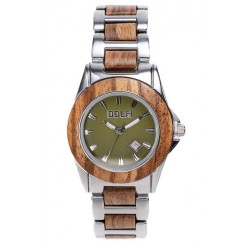 Wood Watch for Man in Olive wood and Steel - with Green Dial Woodies Sunglasses - Made in Italy