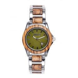 Women's watch in oli wood and steel
