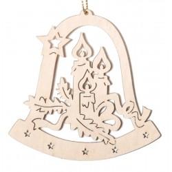Campana con candele - Dolfi decorazioni albero di natale legno, Val Gardena