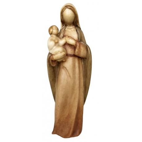 Madonna con Bambino - legno colorato in diverse tonalitá di marrone