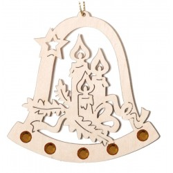 Bell with Candles and Orange Swarovski Crystal - Lasered Decoration for Christmas Tree  - Dolfi