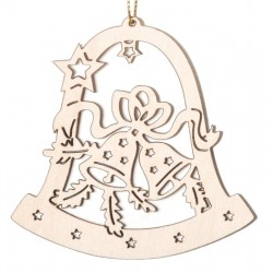 Wooden Bell ornament with bells laser cut motive