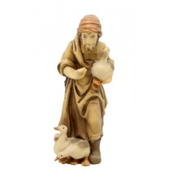 Shepherd with ducks carved in maple wood  - Wood colored in Different brown shades