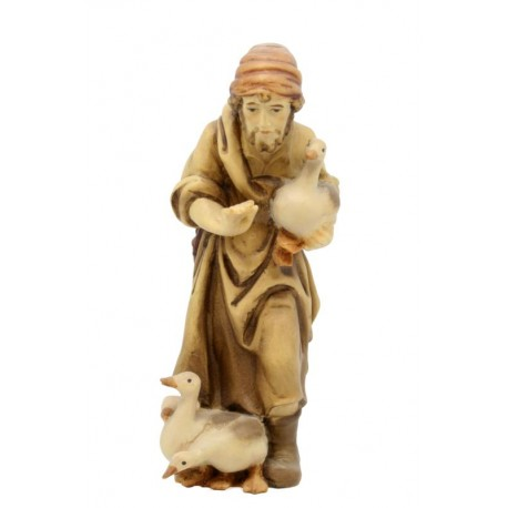 Shepherd with Ducks carved in maple wood  - Dolfi carved Nativity - Made in Italy - oil colors