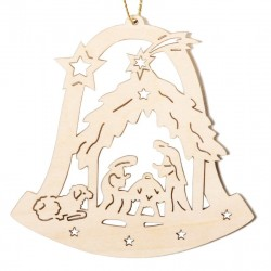 Bell with Holy Family - Natural Lasered Decoration for Christmas Tree German Wooden Ornaments