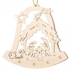 Glocke mit Heiliger Familie, Dolfi Personalisierter Weihnachtsschmuck, Grödner Holzschnitzereien