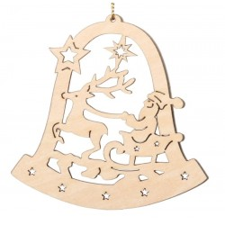 Bell with Santa Claus - Natural Lasered Decoration for Christmas Tree  handmade Wooden Ornaments