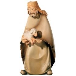 Hirt mit Schaf aus Ahornholz geschnitzt, diese Holzfigur von echten Grödner Holzschnitzer - Ölfarben lasiert