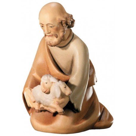 Kneeling Shepherd with Sheep carved in maple wood  - lightly colored with oil paint