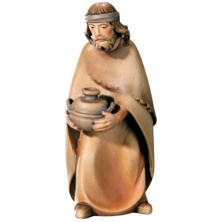 Shepherd with Bowl carved in maple wood  - lightly colored with oil paint