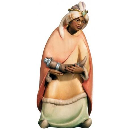 Personaggio per presepe Re Magio Moro Gaspare in legno - colorato a olio