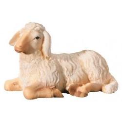 Pecora sdraiata con agnello scolpite per presepe