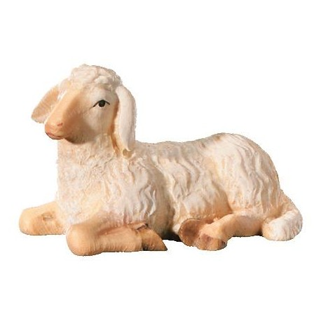Lying Sheep carved in wood - color