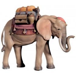 Elefante per presepe finemente scolpito con sella