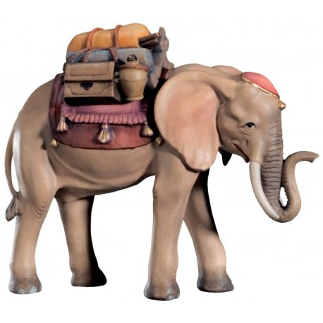 Elephant with Saddle wood carved - color