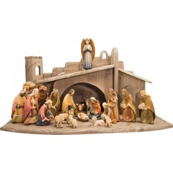 Entire Nativity Set 20 Pcs. with stable - lightly colored with oil paint