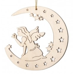 Mond mit Fee; Dolfi Schwedischer Weihnachtsschmuck, diese Kreation ist eine edle Grödner Schnitzerei