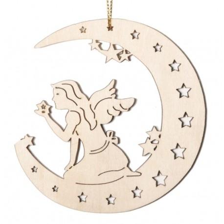 Mond mit Fee, Dolfi Schwedischer Weihnachtsschmuck, diese Kreation ist eine edle Grödner Schnitzerei