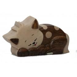 Die kleine Dolfi Holz Katze; Dolfi Geschenk Ideen für Freunde, Original Grödner Holzschnitzerei