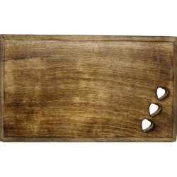 Tagliere scolpito in legno con cuori intagliati 35 x 25 cm - Dolfi regalo laurea uomo, Ortisei