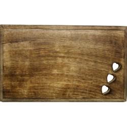 Tagliere scolpito in legno con cuori intagliati 35 x 25 cm