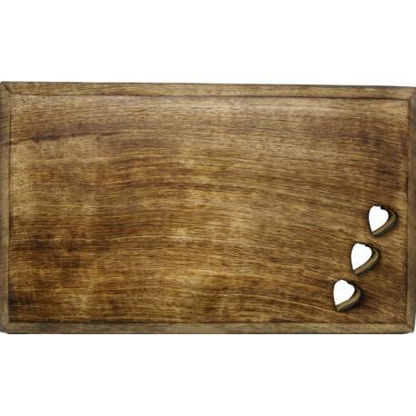 Waldnussbrett mit Herzen 35 x 25 cm