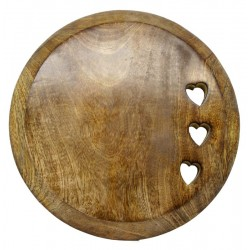 Aufschneide Brett rund aus Walnuss 22 cm x 22 cm, Dolfi Geschenk für Oma, Grödner Holzschnitzereien